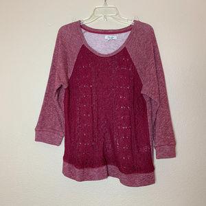 Lucky Lotus Lucky Brand Burgundy Sweater